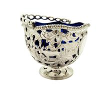 Antique Sterling Silver Basket with Scenes &  Blue Glass Liner 1901 (10 of 11)