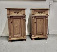 Pair of  Chunky Carved Pine Bedside Cupboards (3 of 6)