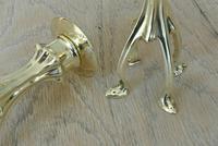 Rare William Tonks Art Nouveau Brass Candlesticks Registration Number 377187 for 1900 (5 of 8)