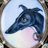 Antique Victorian Diamond Greyhound Locket Pendant Silver c.1870 (5 of 7)