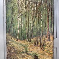 Antique German Impressionist Landscape Oil Painting of Woodland Signed Keiker (7 of 10)