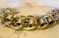 Antique Pocket Watch Chain 1920s Large Chrome Fancy Link Albert with Big Bolt Ring (6 of 12)