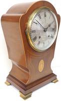 Edwardian Tulip shaped 8-Day Mantel Clock English Mahogany Inlaid Striking Mantle Clock Magnificent Size (7 of 11)