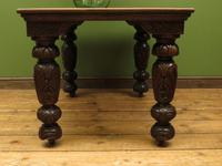 Antique Victorian Gothic Oak & Mahogany Dining or Hall Table Heavily Carved Legs (6 of 13)
