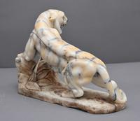 Early 20th Century Alabaster Tiger Sculpture (6 of 11)