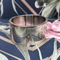 Antique Victorian Sterling Silver Aesthetic Movement Bangle, 1884 (7 of 9)