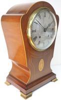 Edwardian Tulip shaped 8-Day Mantel Clock English Mahogany Inlaid Striking Mantle Clock Magnificent Size (6 of 11)