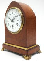French Lancet Walnut Mantel Clock 8-day Front Wind Mantle (5 of 10)