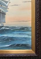 Awesome Tea Clipper Ship 'Hornet' Rough Seas Seascape Watercolour Painting c.1909 (11 of 12)