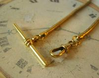 Antique Pocket Watch Chain 1930s Very Long Brass Snake Link Albert With T Bar (7 of 12)