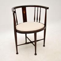 Antique Edwardian Mahogany Tub Chair (2 of 10)