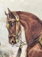 Military Watercolour Prince of Wales Own 10th Royal Hussars Guard on Horseback by Henry Martens c.1850 (12 of 53)