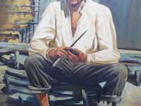 Large oil on canvas The worker Brazilian artist Chediac (Free shipping to Mainland England) (7 of 10)