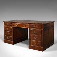 Antique Partner's Desk, English, Mahogany, Leather, Writing Table, Edwardian (3 of 12)