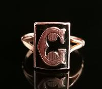 Antique Victorian Mourning Ring, Initial C, 9ct Rose Gold (3 of 10)