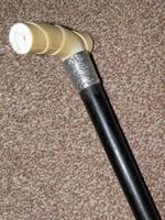 Antique Derby Handled Walking Stick With Hallmarked 1899 Silver Collar W.N (7 of 12)