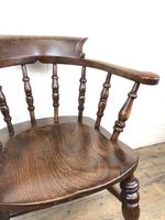 19th Century Ash and Elm Smoker's Bow Chair or Captain's Armchair (5 of 11)