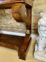 Regency Burr Walnut Console Table with Marble Top (4 of 9)