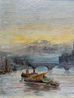 Superb Original 1921 View of Westminster, London Seascape Oil Painting (5 of 12)