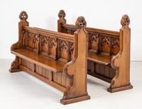 Pair of Victorian Carved Oak Pews (9 of 11)