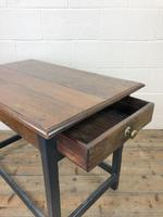 Antique Oak Side Table with Drawer (3 of 11)
