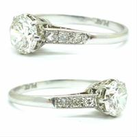 Art Deco Platinum old European cut diamond solitaire engagement ring 0.65ct ~ With appraisal & valuation (3 of 11)