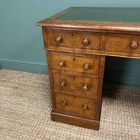 19th Century Victorian Oak Antique Pedestal Desk (6 of 7)