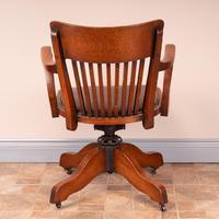 Good Quality Oak Revolving Office Desk Chair (10 of 14)