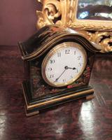Superb Antique Black Lacquered Chinioserie Mantel Clock