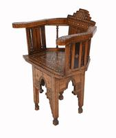 Arabic Chair Antique Damascan Furniture Inlay 1920 (10 of 10)