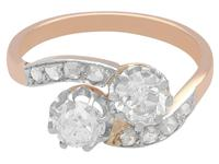 1.52ct Diamond & 18ct Rose Gold Twist Ring - Antique French c.1910 (7 of 9)