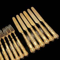 Antique Victorian Solid Silver Gilt Fruit / Dessert Knives & Forks Set of Six in Queens Pattern - Aaron Hadfield 1839 (12 of 32)