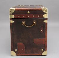 Early 20th Century Leather Bound ex Army Trunk (7 of 11)