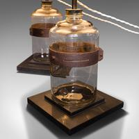 Pair of Antique Jar Lamps, English, Glass, Slate, Side Light, Victorian c.1900 (6 of 9)