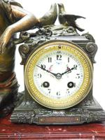Wonderful French Figural Mantel Clock Lady Reclining 8 Day Mantle Clock with side Urns (2 of 12)
