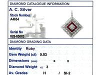 3.48ct Diamond & 0.53ct Ruby, Platinum Pendant / Brooch - Antique c.1900 (12 of 15)
