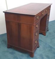 Edwardian Inlaid Mahogany Leather Top Desk (2 of 4)