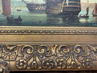 Seascape Oil Painting First Rate Man O War Ships Portsmouth Harbour Signed Brian Coole (37 of 39)