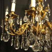 Italian Gilded & Crystal 12 Light Antique Chandelier (7 of 9)