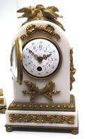 Incredible French White Marble Mantel Clock French 8-day Timepiece Garniture Clock Set (9 of 13)
