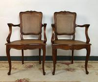 Vintage French Set of 6 Cherrywood Bergère Cane Dining Chairs with Carvers (4 of 14)