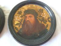 2 19th Century Pre Raphaelite Roundel Oil Portraits . Da Vinci & Velasquez (3 of 7)