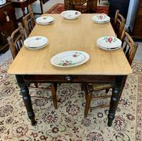 Antique Victorian Pine Farmhouse Table with Drawer (2 of 16)