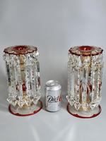 Magnificent Pair of Mid 19th Century Candle Lustres 'Possibly Baccarat' Gilded & Ruby Decoration (2 of 18)