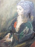 Large Oil on Canvas Portrait of Carolyn Royal Academy Artist Margaret Milne 1970 (9 of 10)