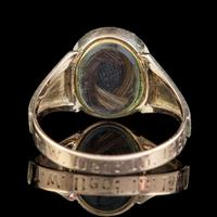 Antique Victorian Enamel Forget Me Not Pearl Ring Mourning Locket 9ct Gold Inscribed 1882 (9 of 10)