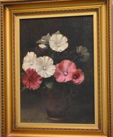 Still Life Oil Painting of Hollyhocks by Alfred Frederick William Hayward (3 of 7)