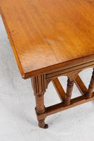 Victorian Gothic Revival Oak Dining Table / Stretcher Table (11 of 13)
