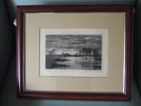 """Robert Farren - Etching """"A Flood in the Fens"""" Featuring Ely Cathedral (2 of 4)"""