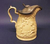 Charming Small Size Staffordshire Stoneware Jug with Pewter Cover c.1830